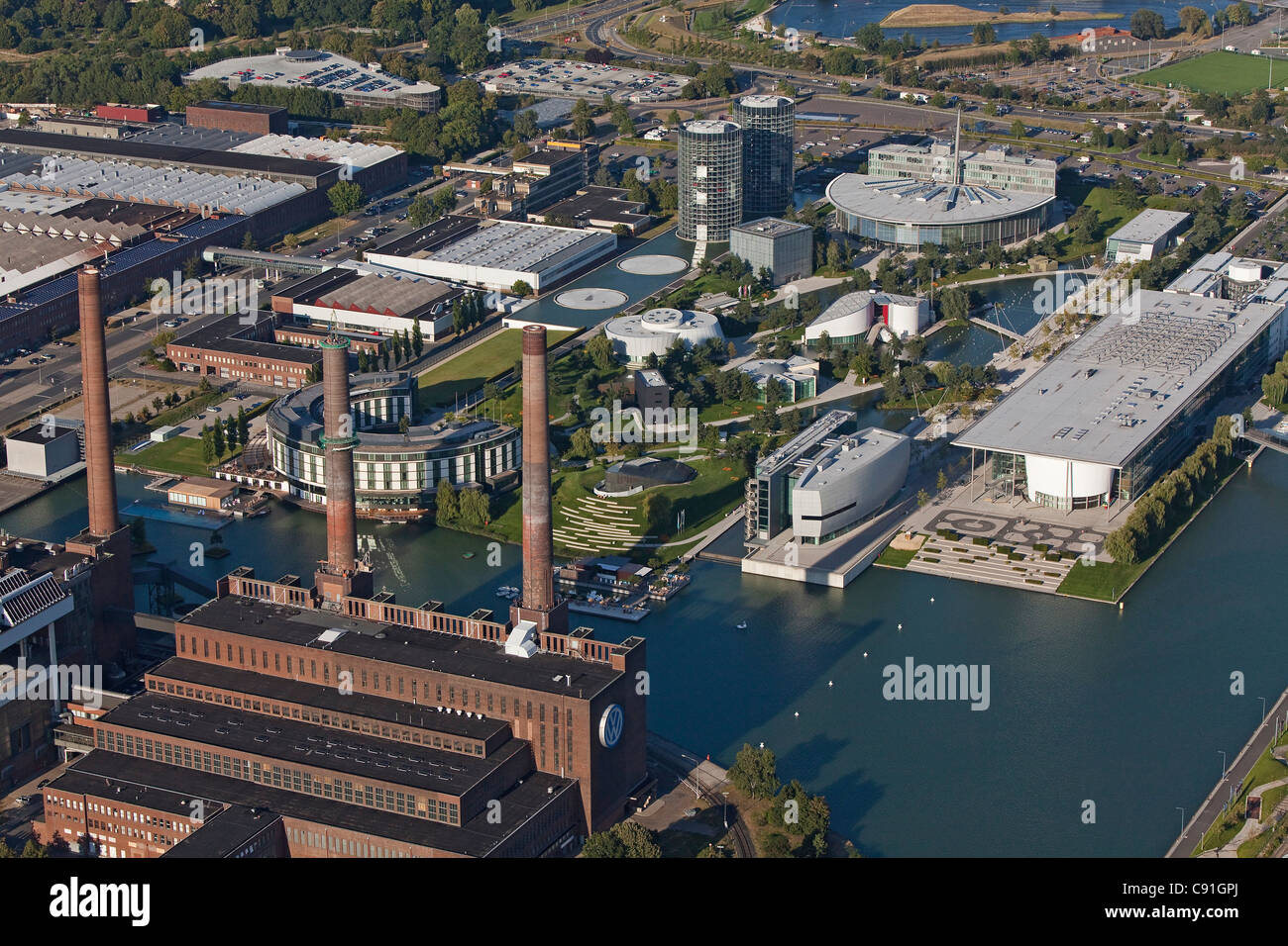 Aerial view of the Volkswagen plant and canal, Autostadt Wolfsburg, Lower Saxony, Germany Stock Photo