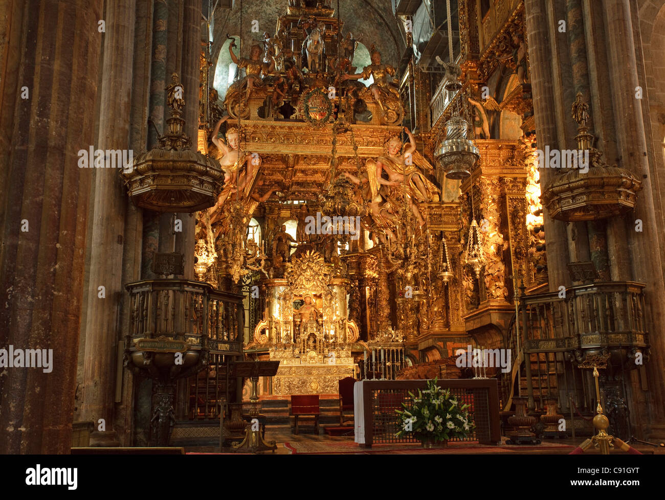 Interior view of the richly decorated cathedral Santiago de Compostela Province of La Coruna Galicia Northern Spain - Stock Image