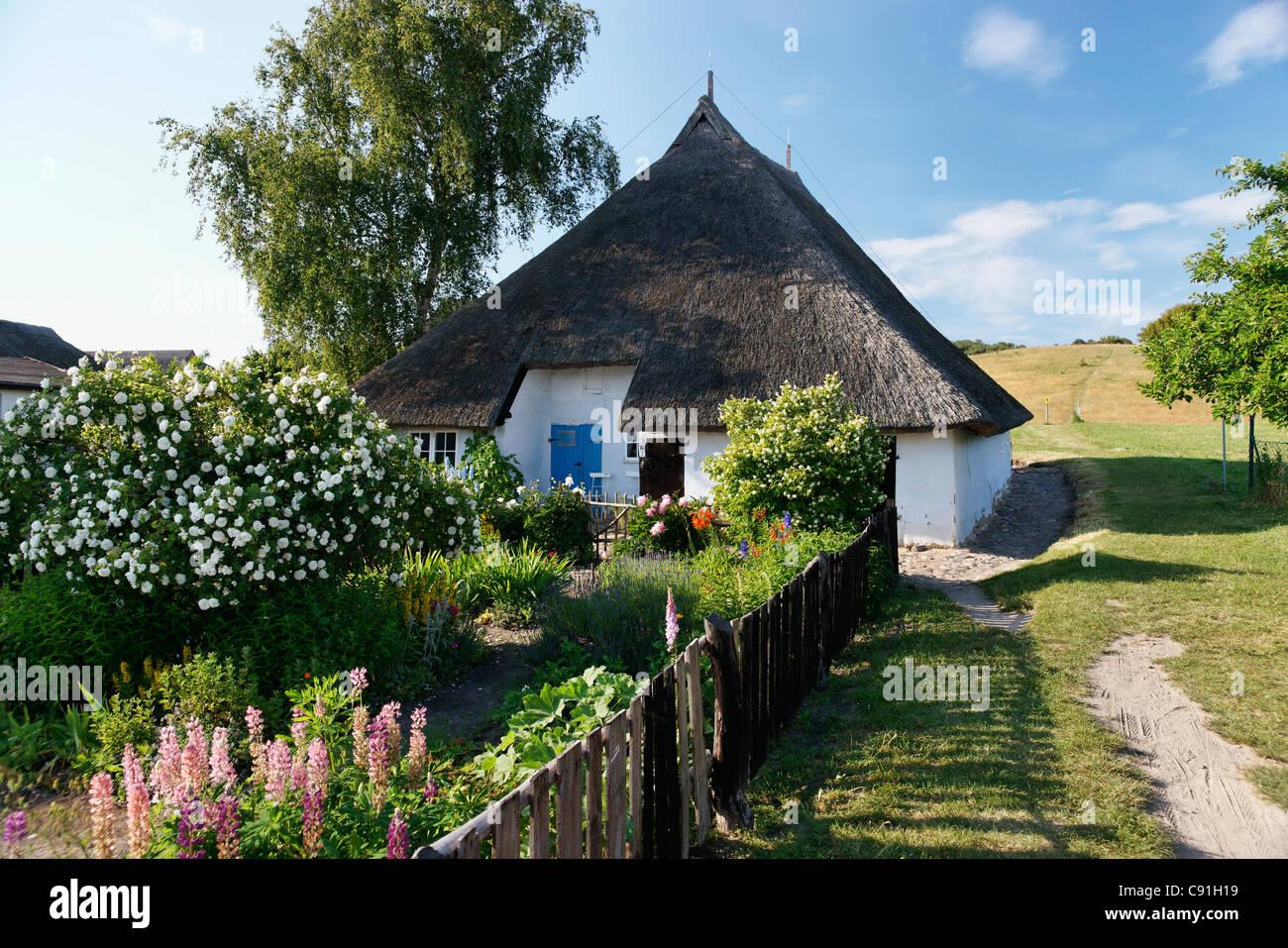 Picturesque Pastor's Widow House, Gross Zicker, Moenchgut, Ruegen, Mecklenburg-Western Pomerania, Germany, Europe - Stock Image