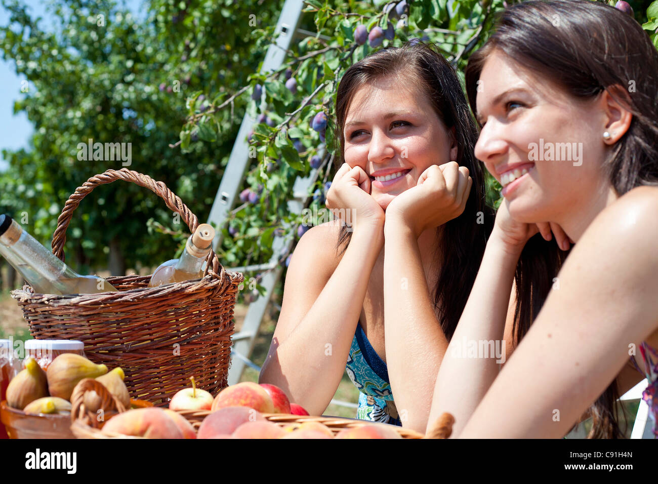 Smiling women picnicking in orchard - Stock Image