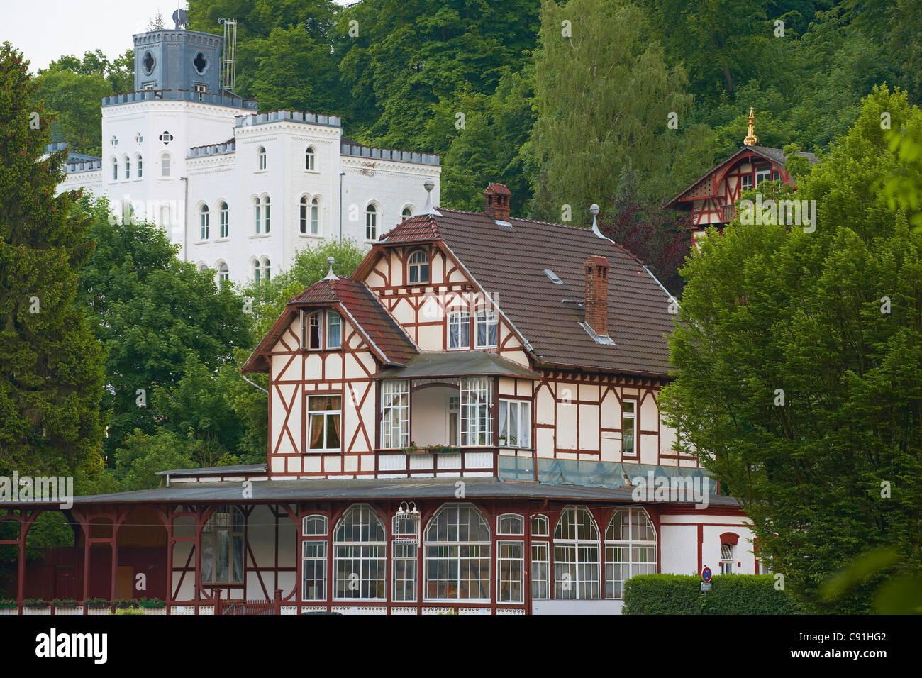 House of art, Balmoral castle, Half-timbered house, Bad Ems an der Lahn, Bad Ems on Lahn, Rhineland-Palatinate, - Stock Image