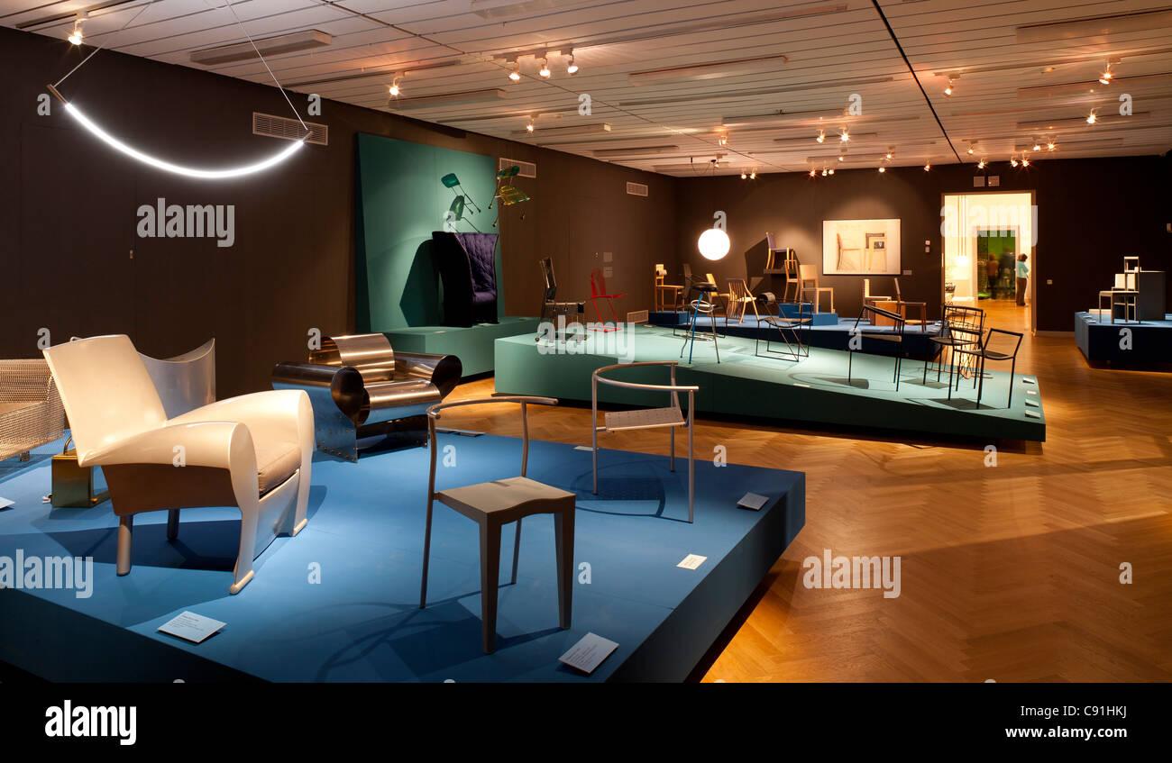 Exhibition Ideen sitzen. 50 Jahre Stuhldesign, Museum fuer Kunst und Gewerbe Hamburg, Hanseatic city of Hamburg, - Stock Image