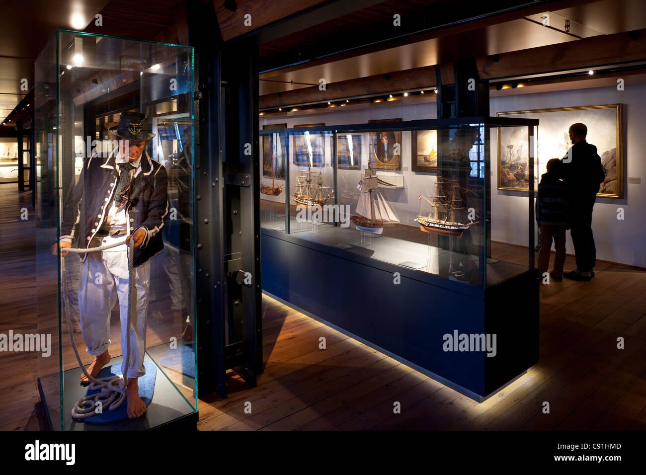 Figure and model sailing ships at International Maritime Museum Hamburg, Hanseatic city of Hamburg, Germany, Europe - Stock Image