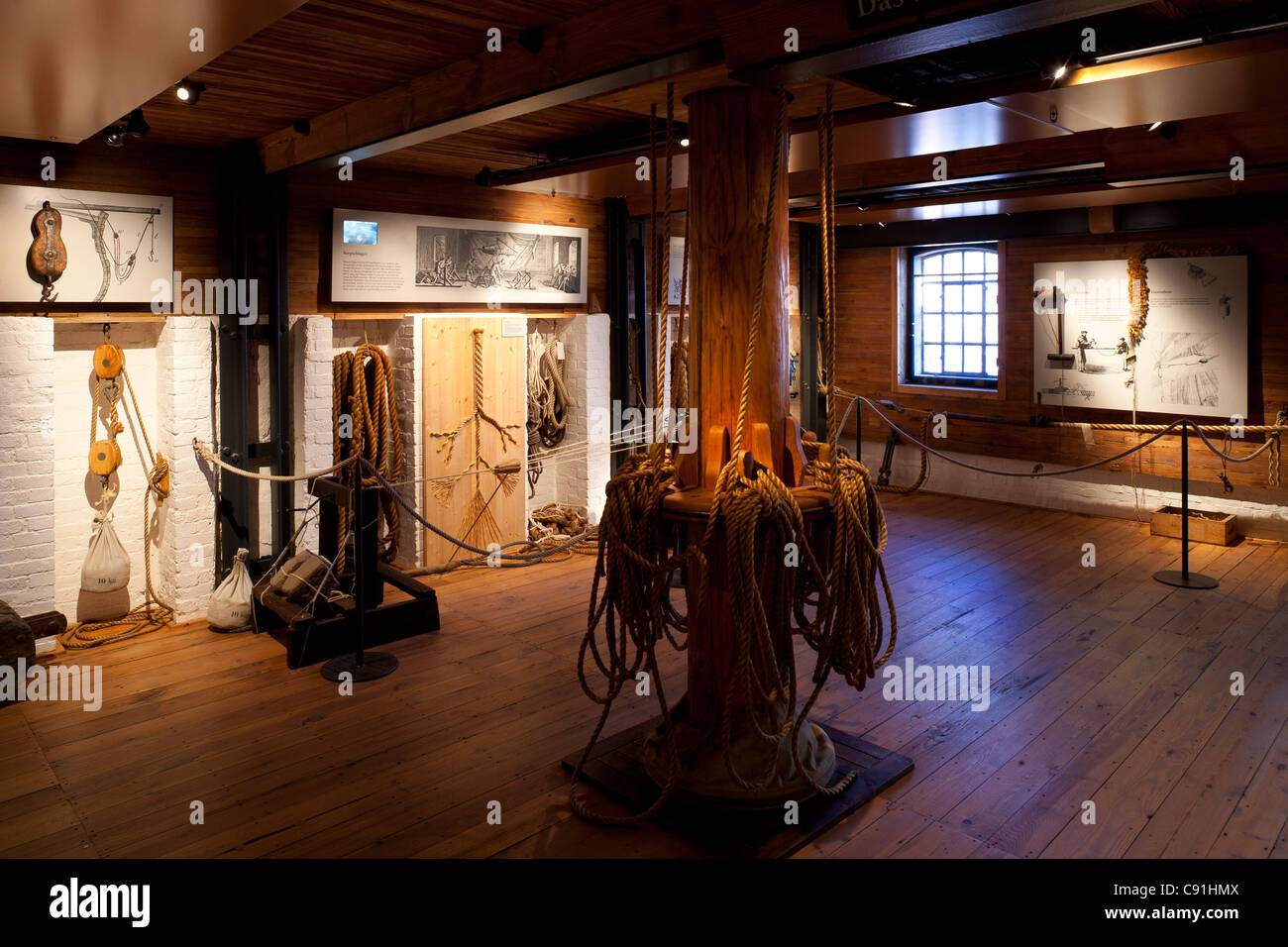 Demonstration of rope making and sailor's knots International Maritime Museum Hamburg Hanseatic city of Hamburg - Stock Image