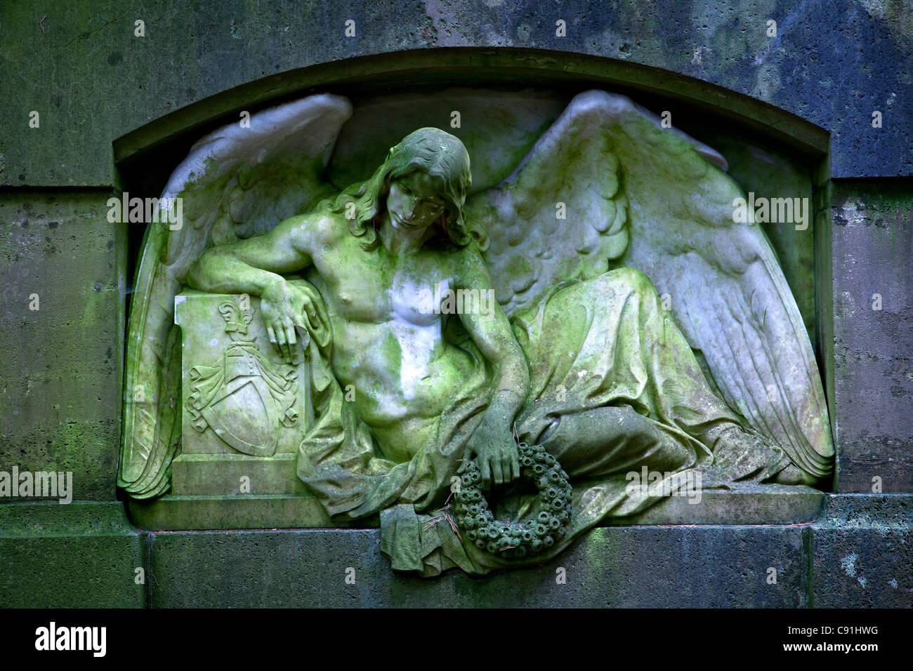 Gravestone at Ohlsdorf cemetery, Hanseatic city of Hamburg, Germany, Europe - Stock Image