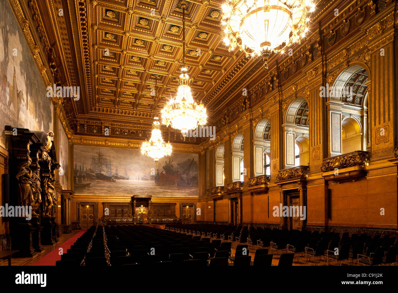 Grosser Festsaal, Artist Hugo Vogel, Hamburg Town Hall, Hanseatic city of Hamburg, Germany, Europe - Stock Image