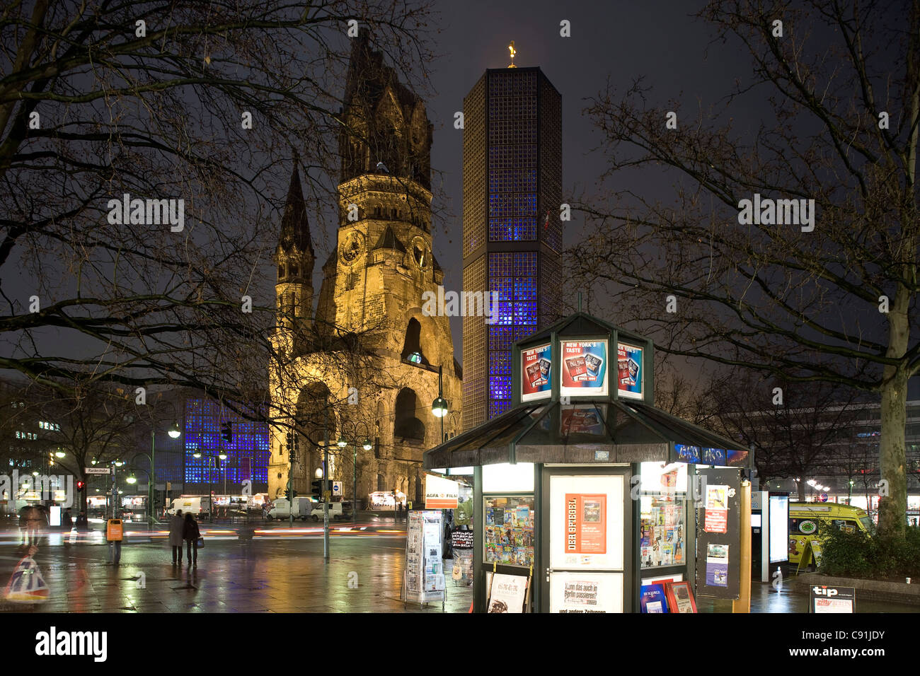 Kaiser Wilhelm Memorial Church, Breitscheidplatz, Berlin Mitte, Berlin, Germany, Europe - Stock Image