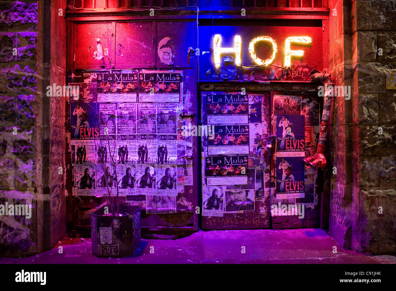 Entrance full of posters and billboards, Oranienburger Strasse, Berlin-Mitte, Berlin, Germany, Europe - Stock Image
