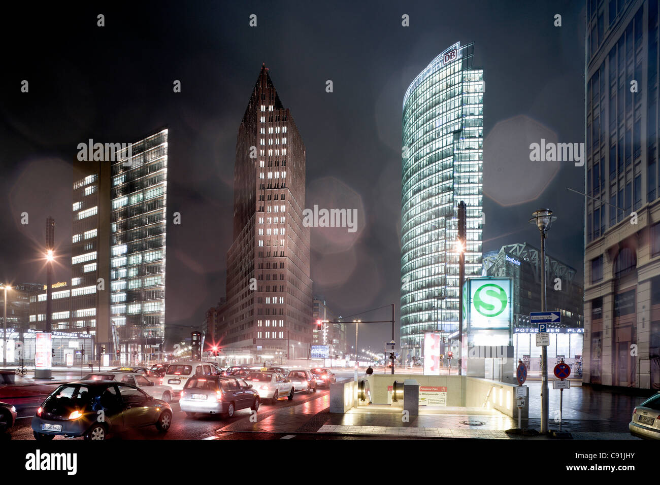 Potsdamer Platz, from left to right, Renzo Piano Tower, Hans Kollhoff Tower, Bahn Tower, Berlin-Mitte, Berlin, Germany, - Stock Image