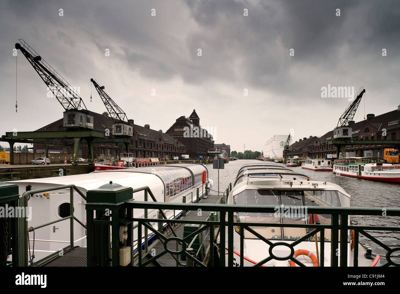 Excursion boats at Westhafen, Berlin, Germany, Europe Stock Photo