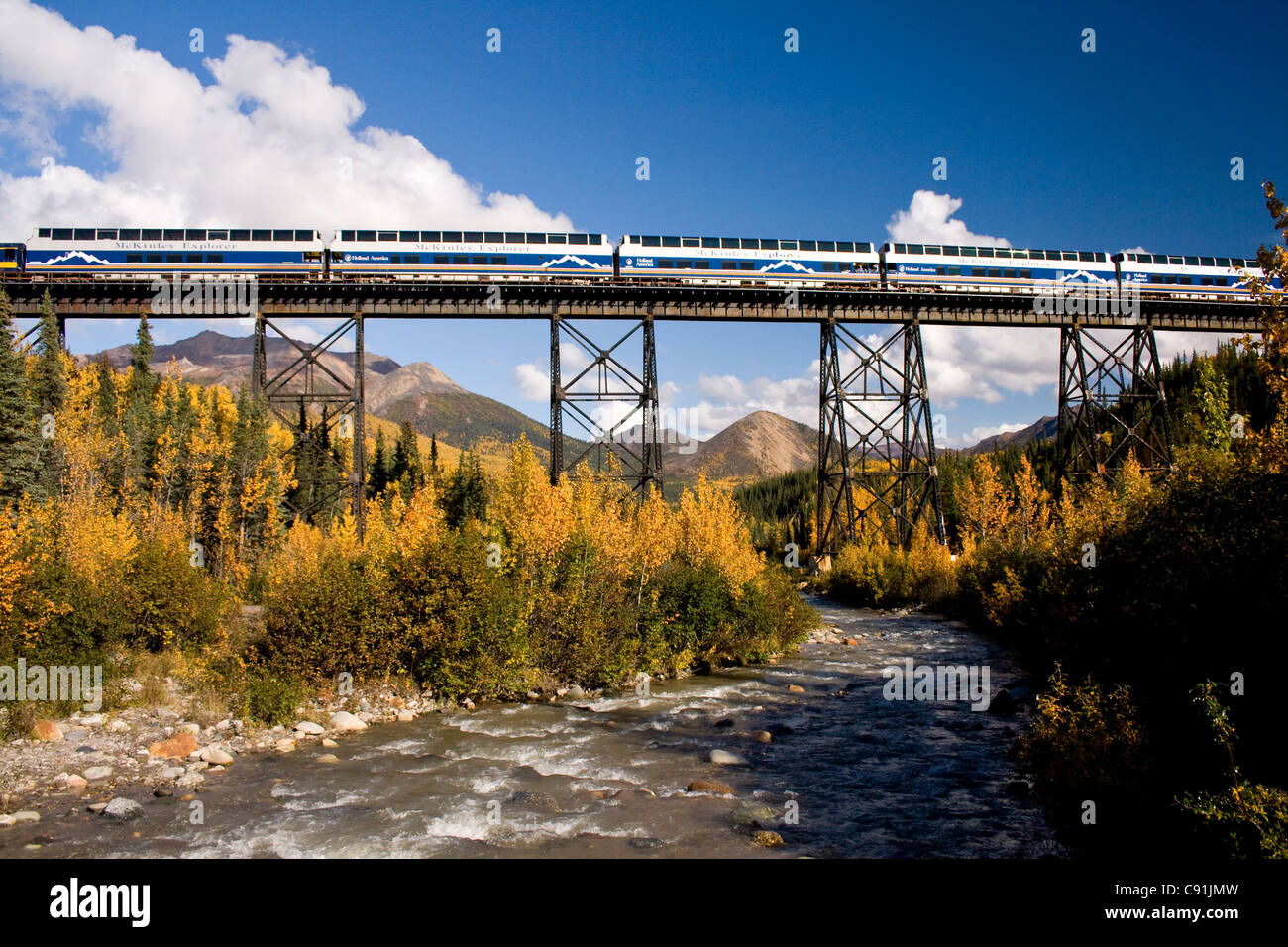 Riley Creek flows under the trestle as an Alaska Railroad train and Holland America's McKinley Explorer crosses, - Stock Image