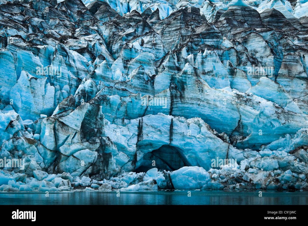 Close up of Lamplugh Glacier in Johns Hopkins Inlet, Glacier Bay National Park & Preserve, Southeast Alaska, - Stock Image