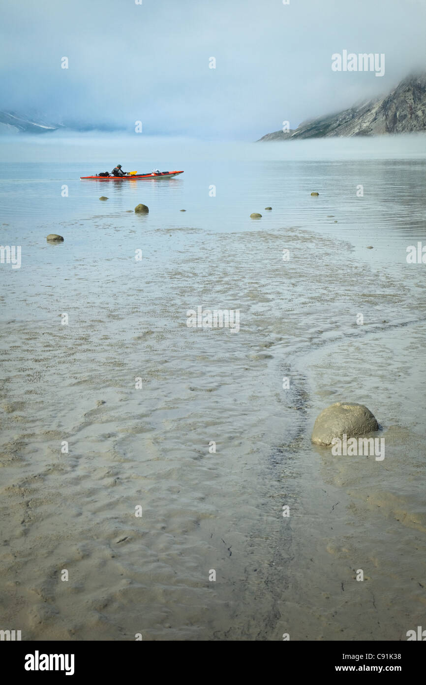 A kayaker lands on a flat silt beach on a foggy day in Muir Inlet, Glacier Bay National Park & Preserve, Southeast - Stock Image