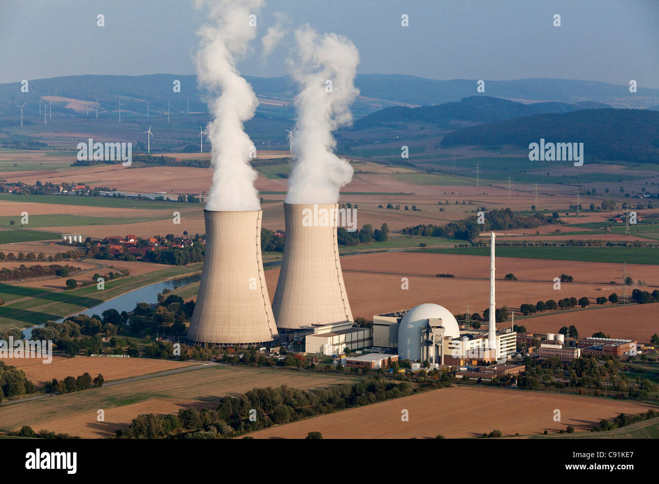 Aerial photo of the nuclear power plant Grohnde and the Weser River, Lower Saxony, Germany - Stock Image