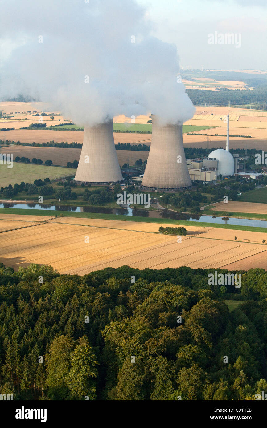 Aerial photo of nuclear power plant Grohnde, Weser River, Lower Saxony, Germany - Stock Image