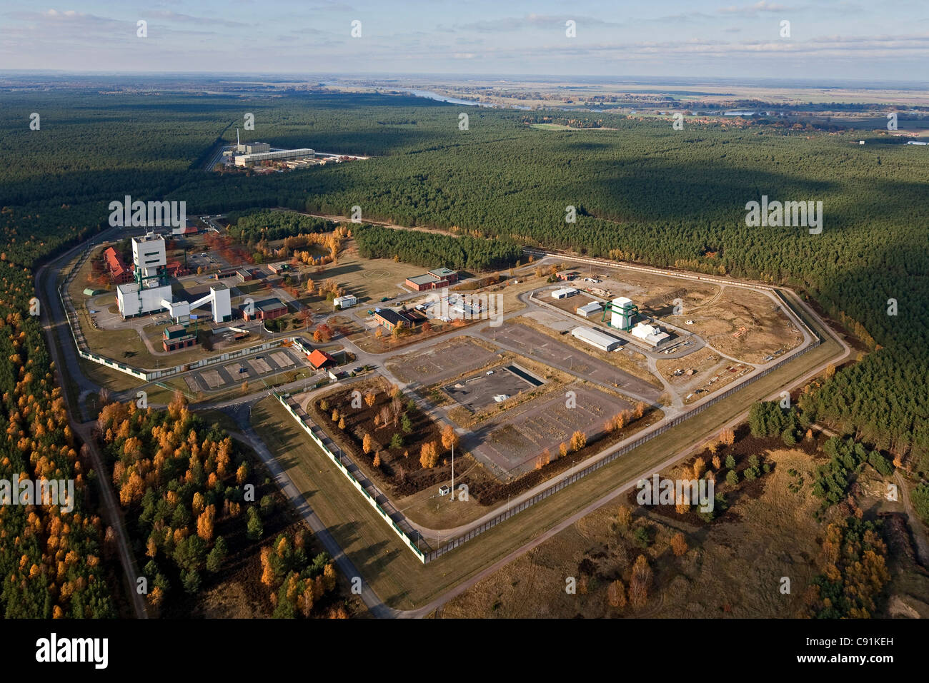 Aerial photo of the interim nuclear waste depot at Gorleben in Lower Saxony, Germany - Stock Image