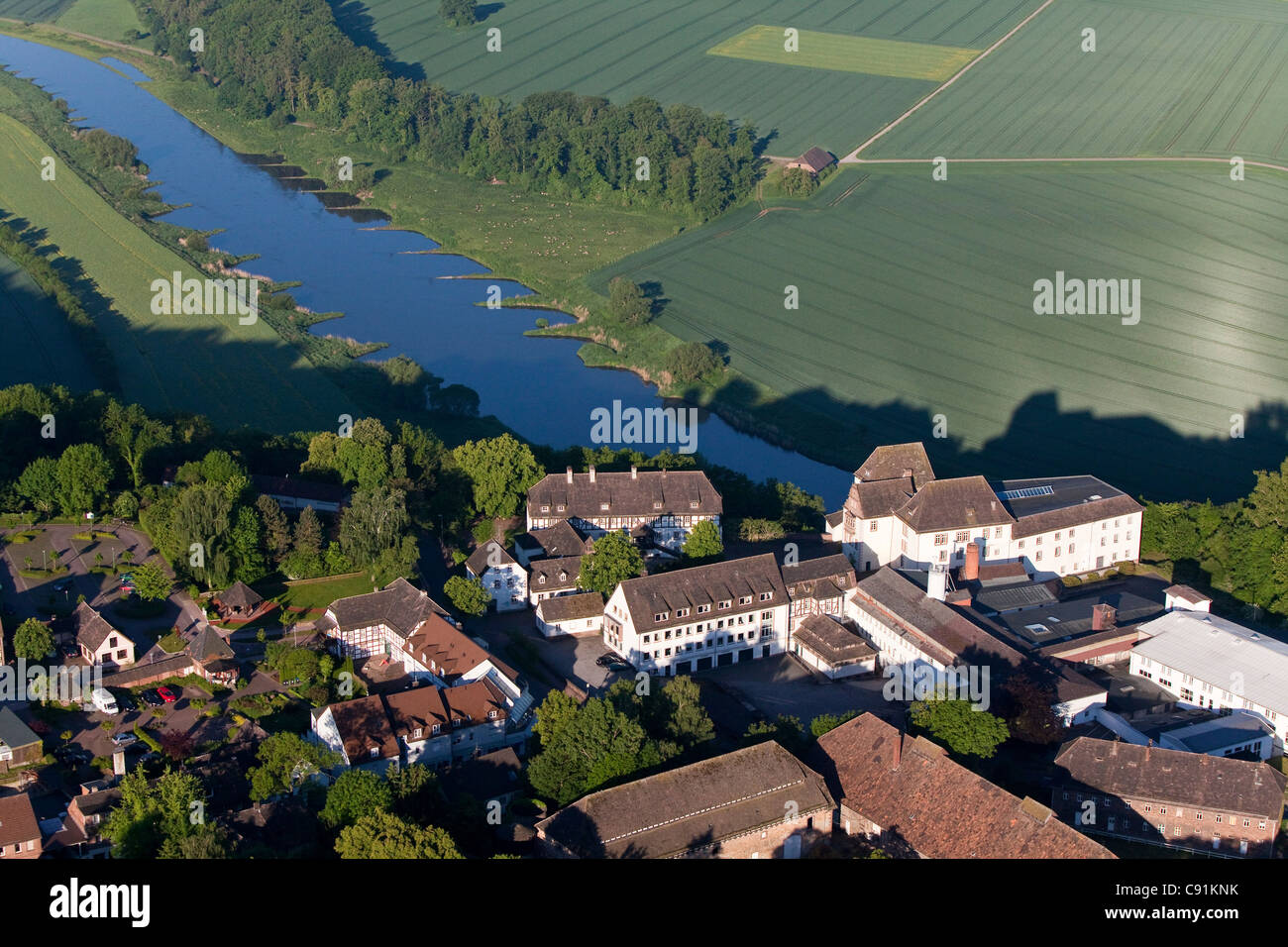 Aerial view of the famous porcelain manufacturer Fuerstenberg, Weser region, Fuerstenberg, Lower Saxony, Germany - Stock Image