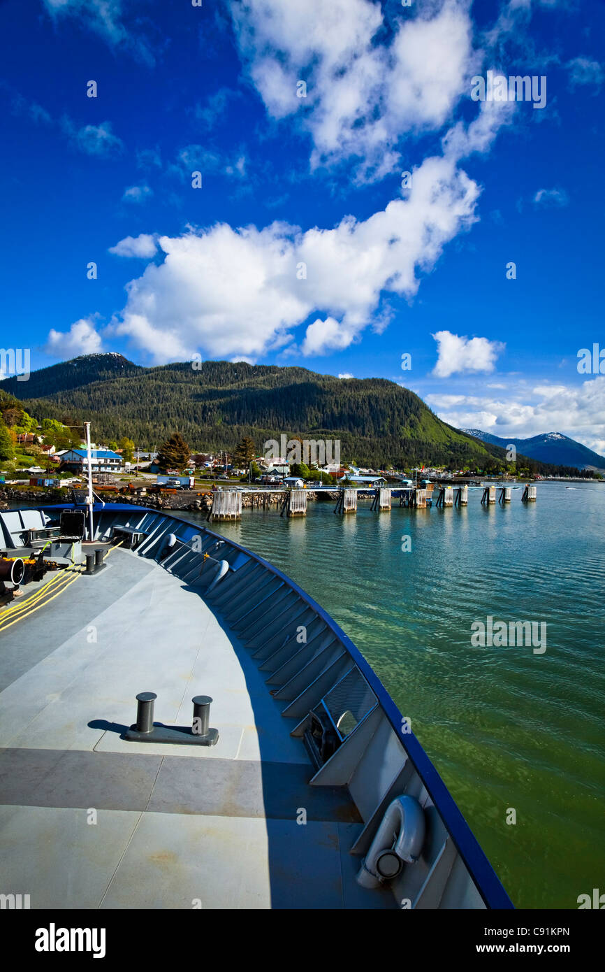 M/V Matanuska approaching the Port of Wrangell on a sunny day, Southeast Alaska, Summer - Stock Image