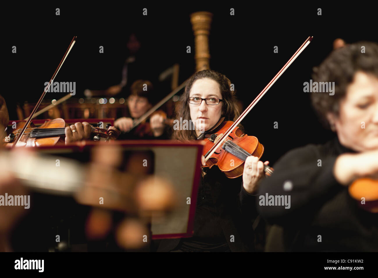 String section in orchestra - Stock Image