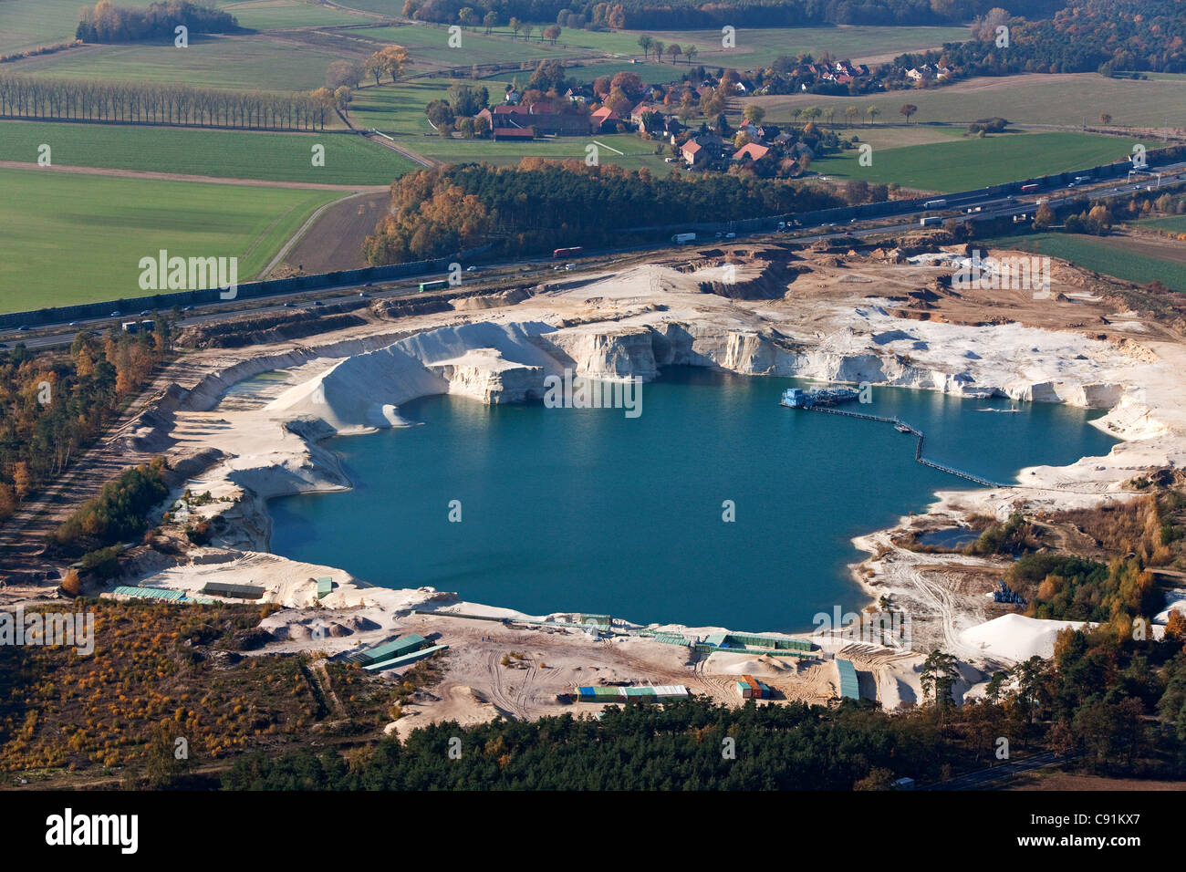 aerial photo of a silica sand pit near Braunschweig on the A2 autobahn, Braunschweig, Lower Saxony, Germany Stock Photo