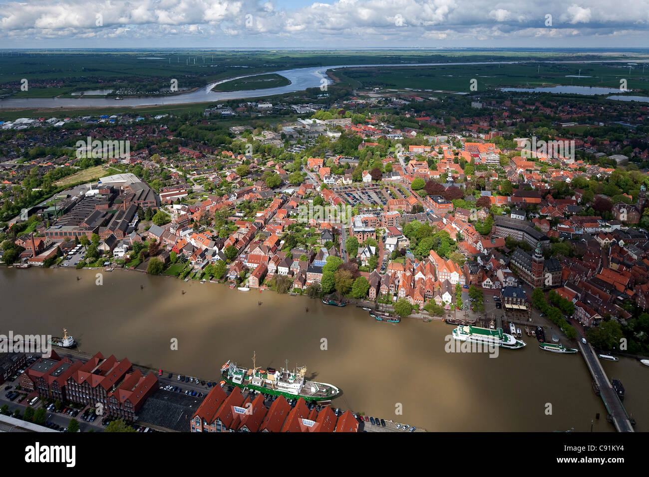 Aerial view of the town of Leer, harbour and town hall bridge, view across to the Ems River Lower Saxony, Germany - Stock Image