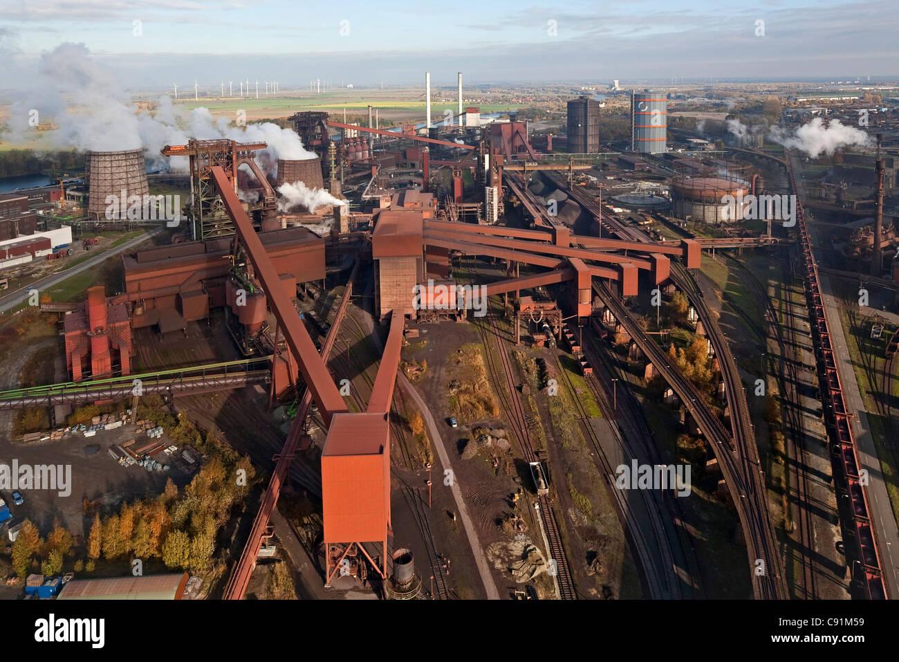 Aerial of Salzgitter Steelworks, Salzgitter, Lower Saxony, Germany - Stock Image