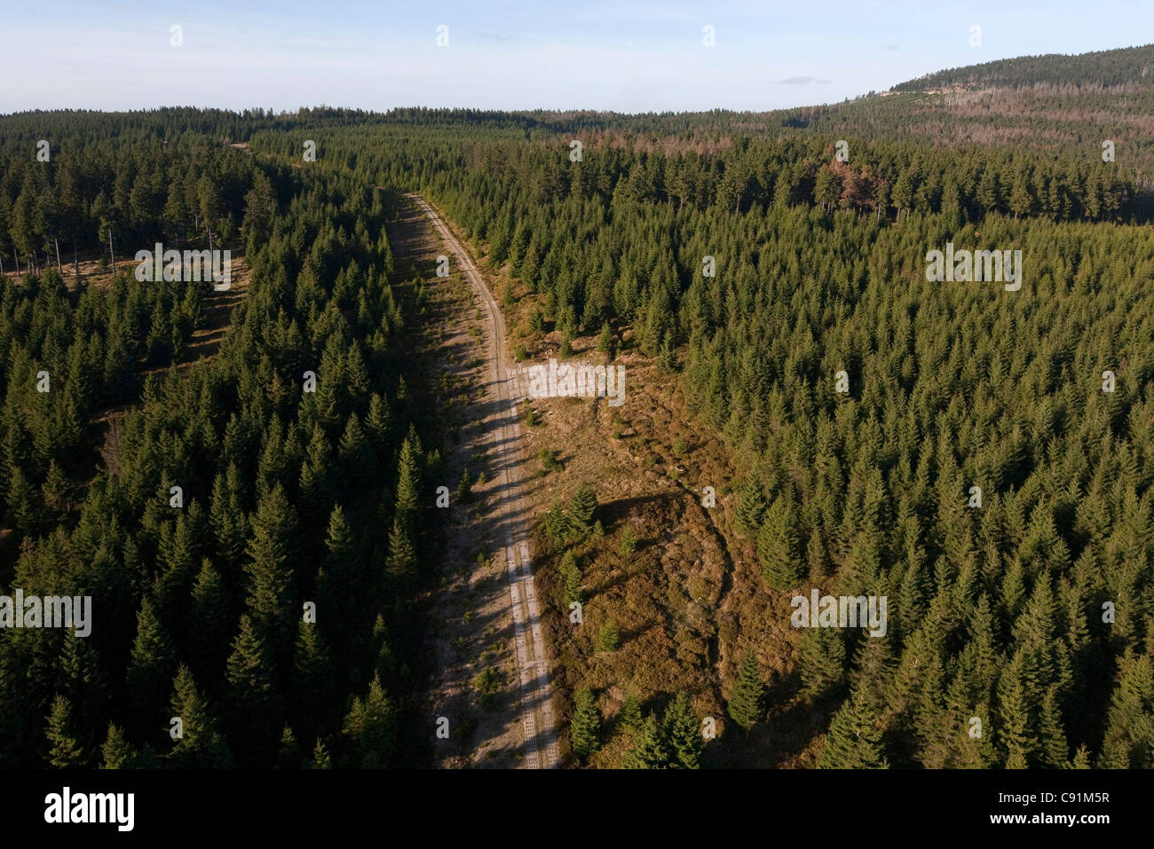 Aerial of former inner German border near Gartow in Wendland, Lower Saxony, Germany - Stock Image