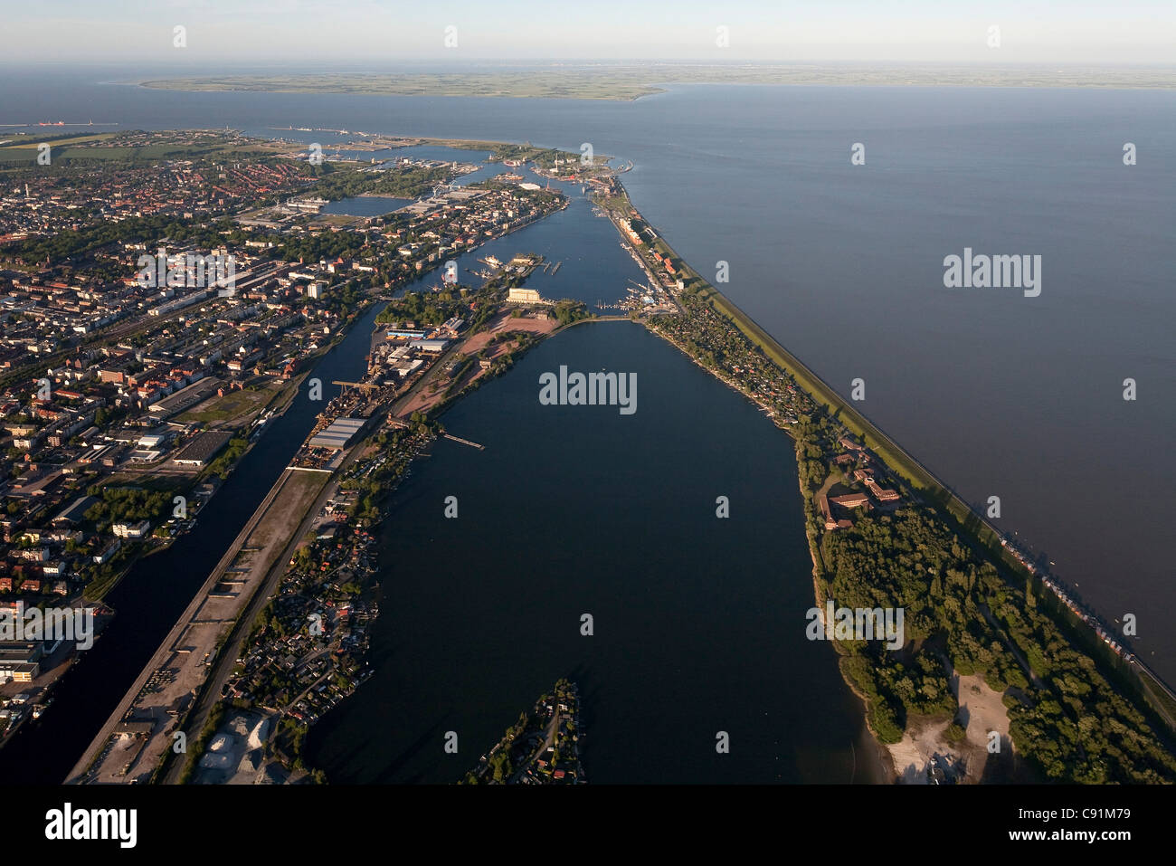 Aerial view of Wilhelmshaven and overview of harbour, Wilhelmshaven, Lower Saxony, Germany - Stock Image