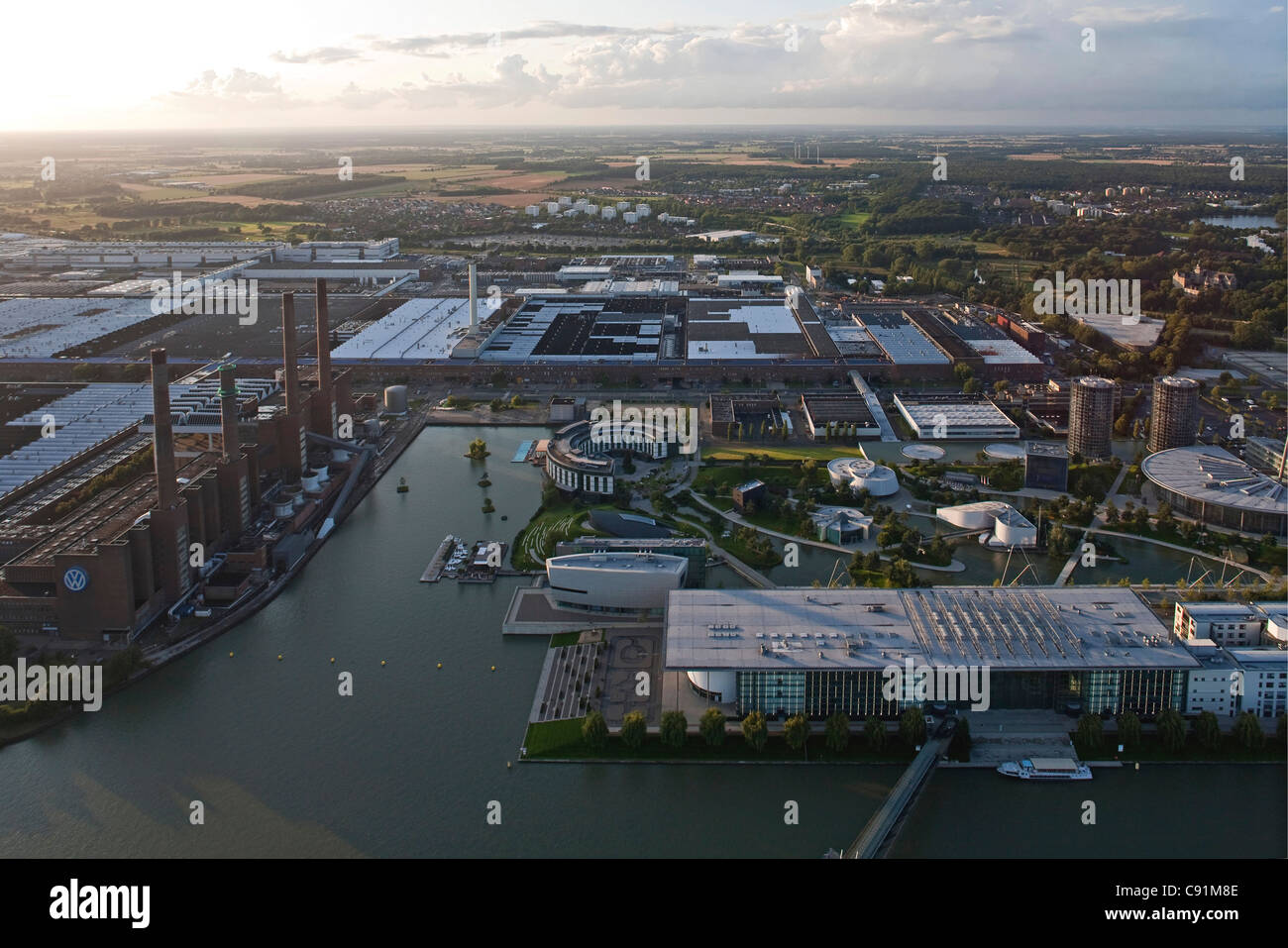 Aerial view of power plant and Volkswagen VW Auotstadt Wolfsburg, Lower Saxony, Germany Stock Photo