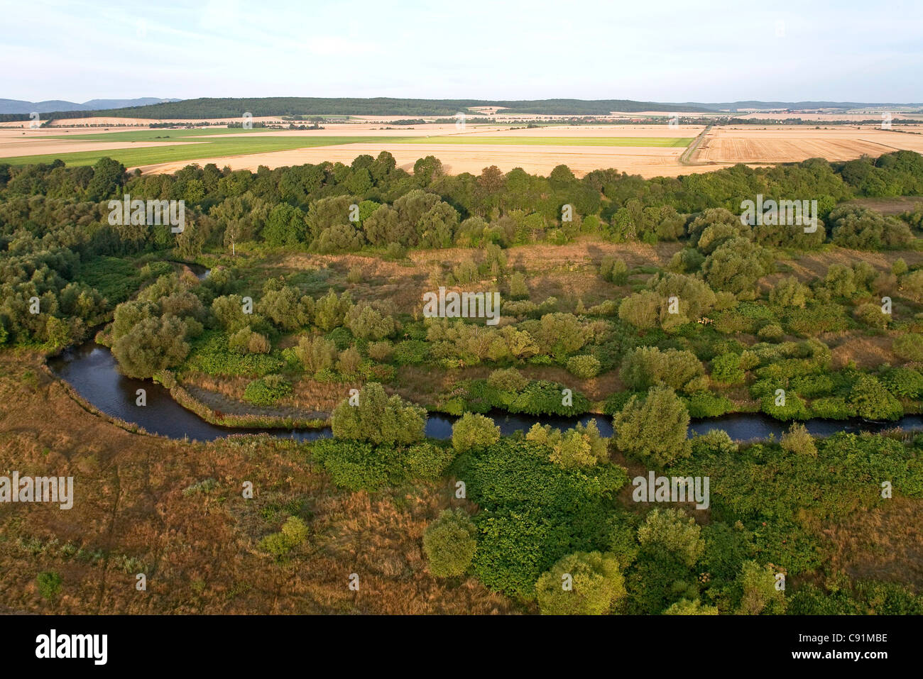 Aerial view of meadows of the Innerste river, nature reserve, Lower Saxony, Germany - Stock Image