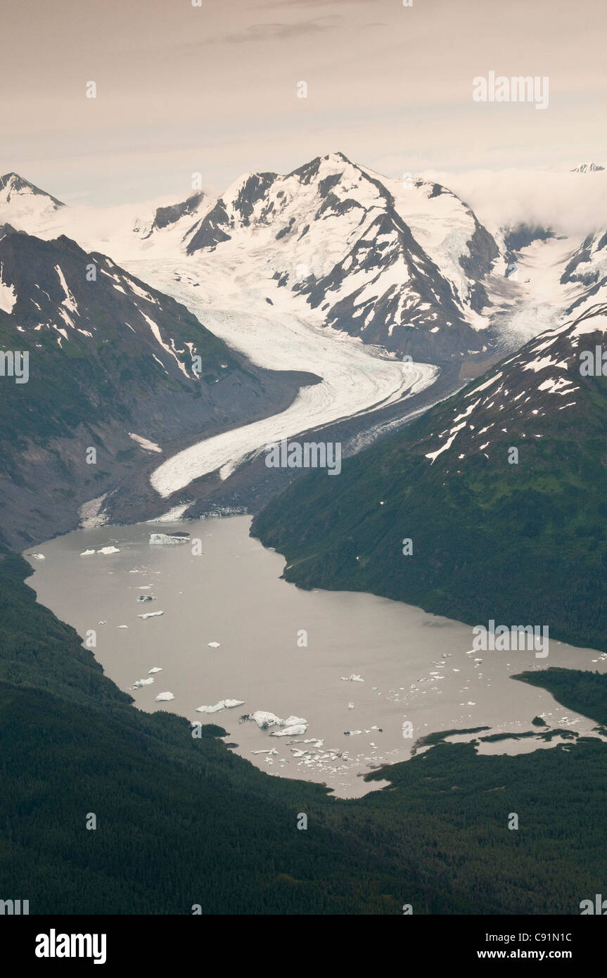 Aerial view of Twenty Mile Glacier and Lake, Chugach National Forest, Southcentral Alaska, Summer - Stock Image