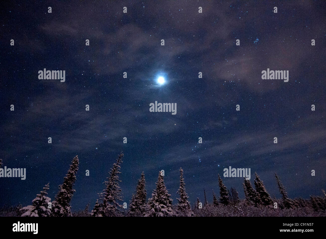 Full moon and a starry winter night over the hillside area above Anchorage, Southcentral Alaska, Winter - Stock Image