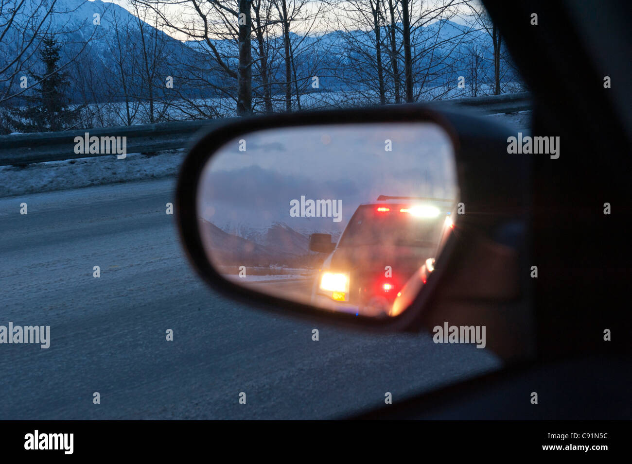 Beautiful The Lights Of An Police Vehicle Reflect In The Rear View Mirror Of A Car On  The Seward Highway, Turnagain Arm, Alaska Nice Look