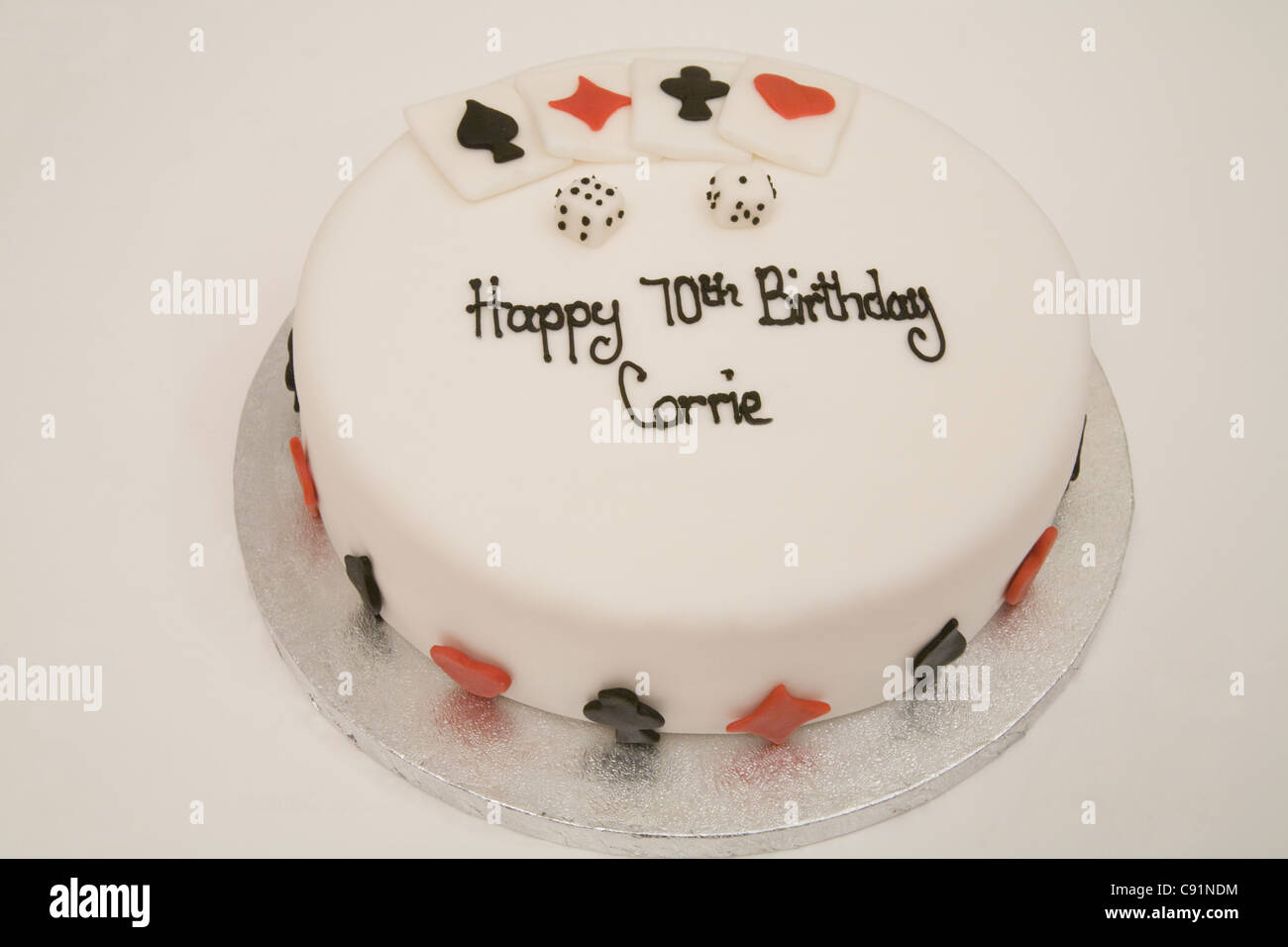 Iced 70th Birthday Cake Decorated With Playing Cards And Dice