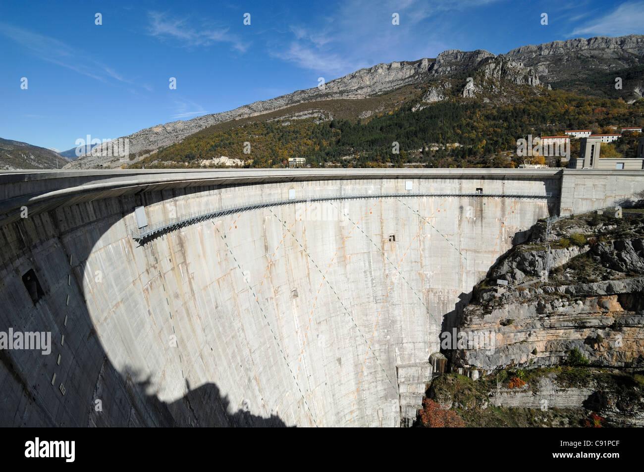 Castillon Barrage or Dam & Hydro-Electric Power Station, Verdon Valley or Gorge, near Castallane, France - Stock Image