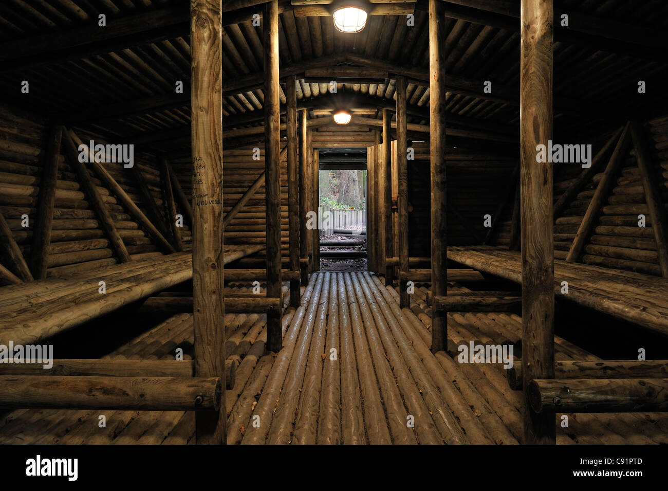 Interior of cagna, WW2 hideout of Belgian maquisards resistance fighters at Wolfsschlucht I, Brûly-de-Pesche, - Stock Image