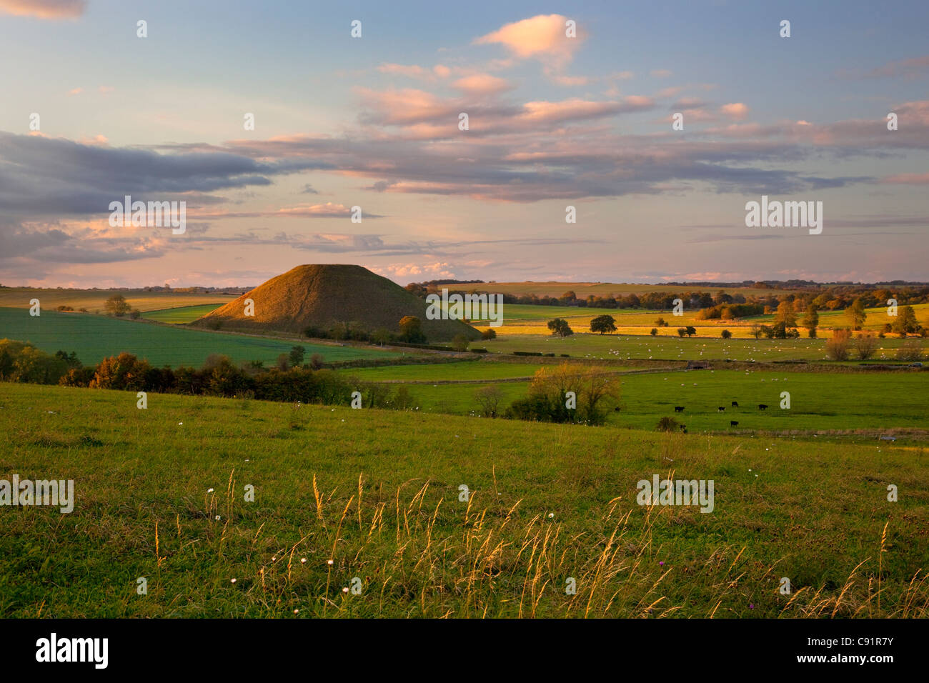 Silbury Hill Ancient Neolithic monument chalk mound near Avebury ,Wiltshire - Stock Image