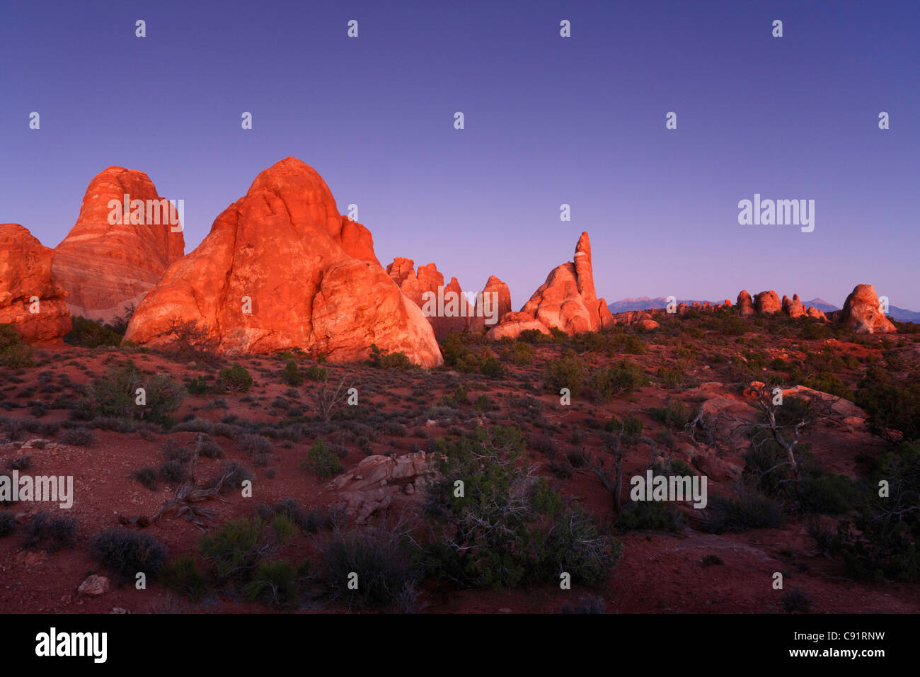 Fiery Furnace at dusk, Arches National Park - Stock Image