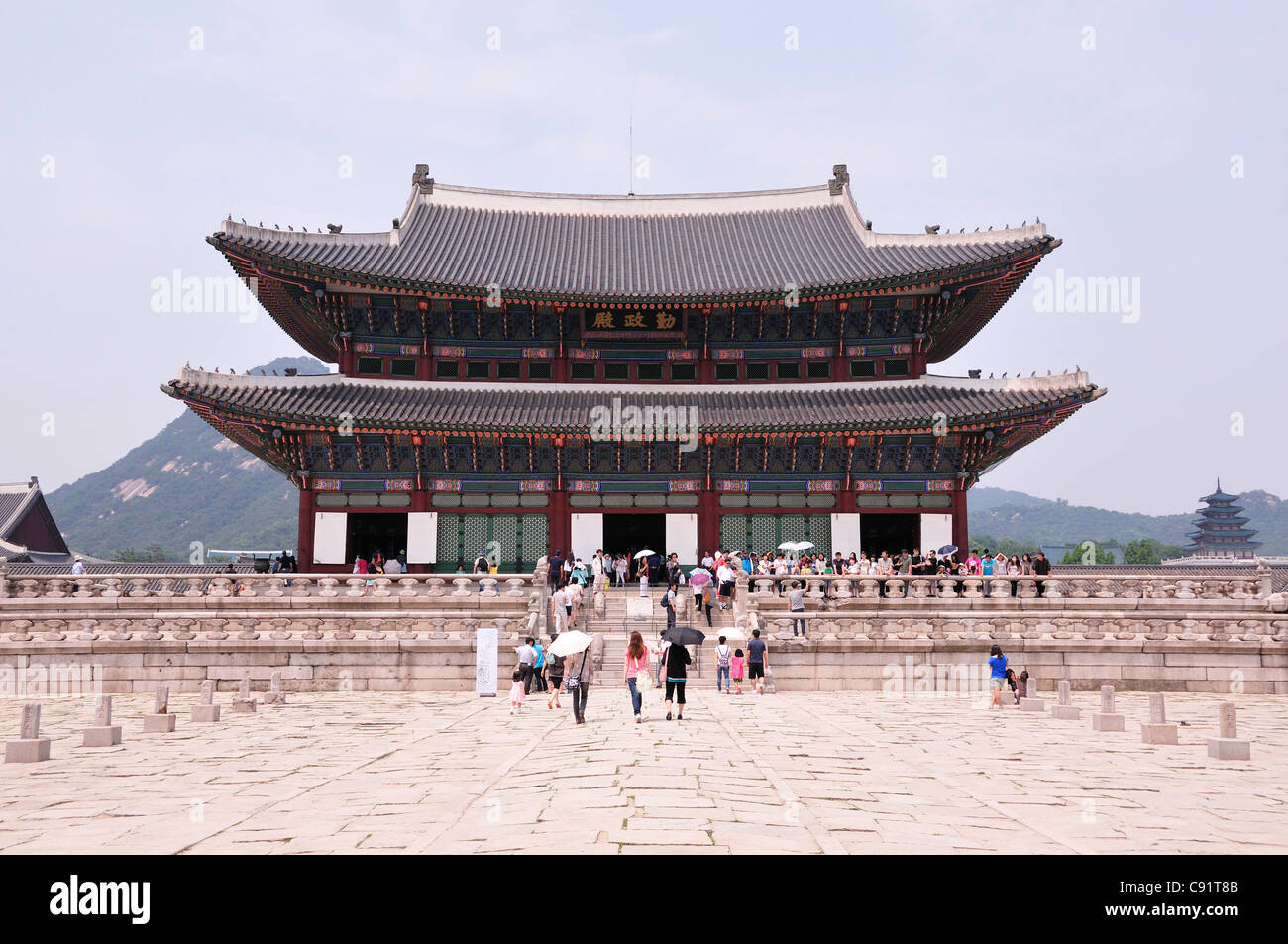 Gyeongbokgung Palace is the royal palace founded in the early 14th century and rebuilt in the 19th century in the - Stock Image
