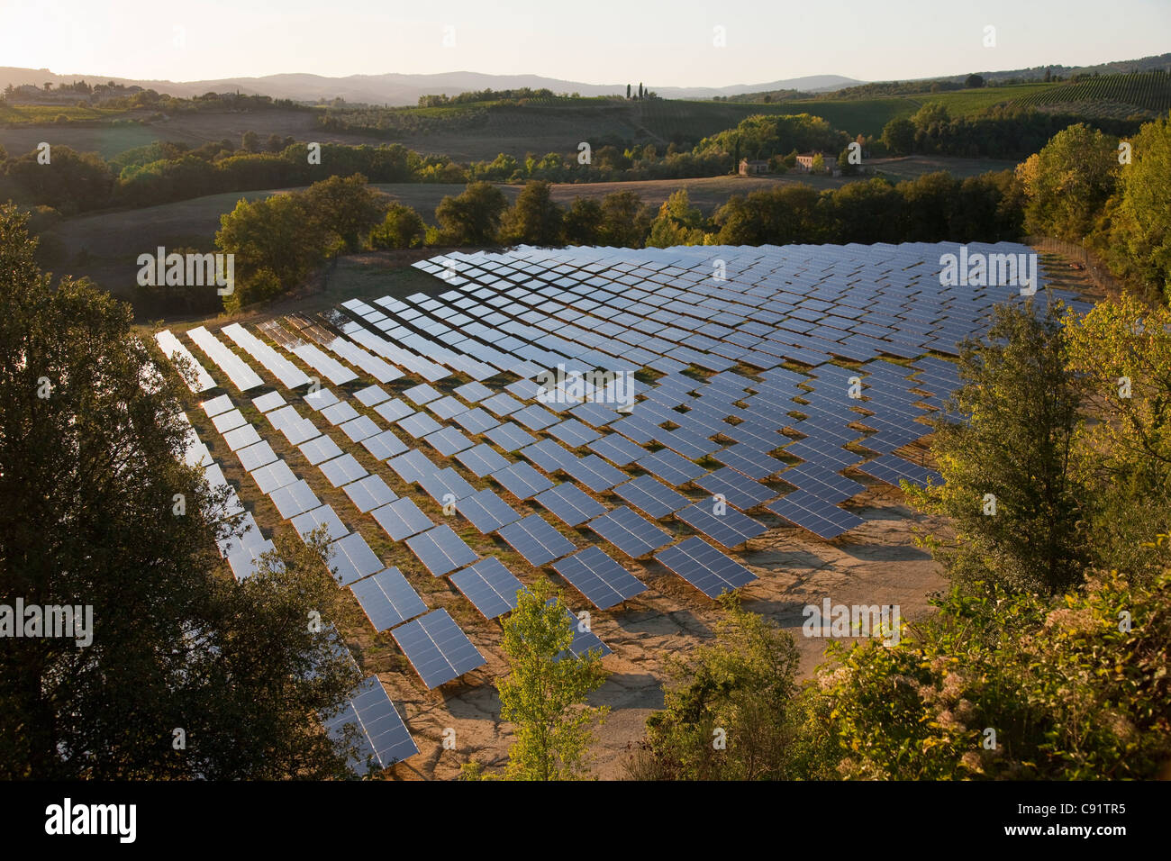 Aerial view of field of solar panels - Stock Image