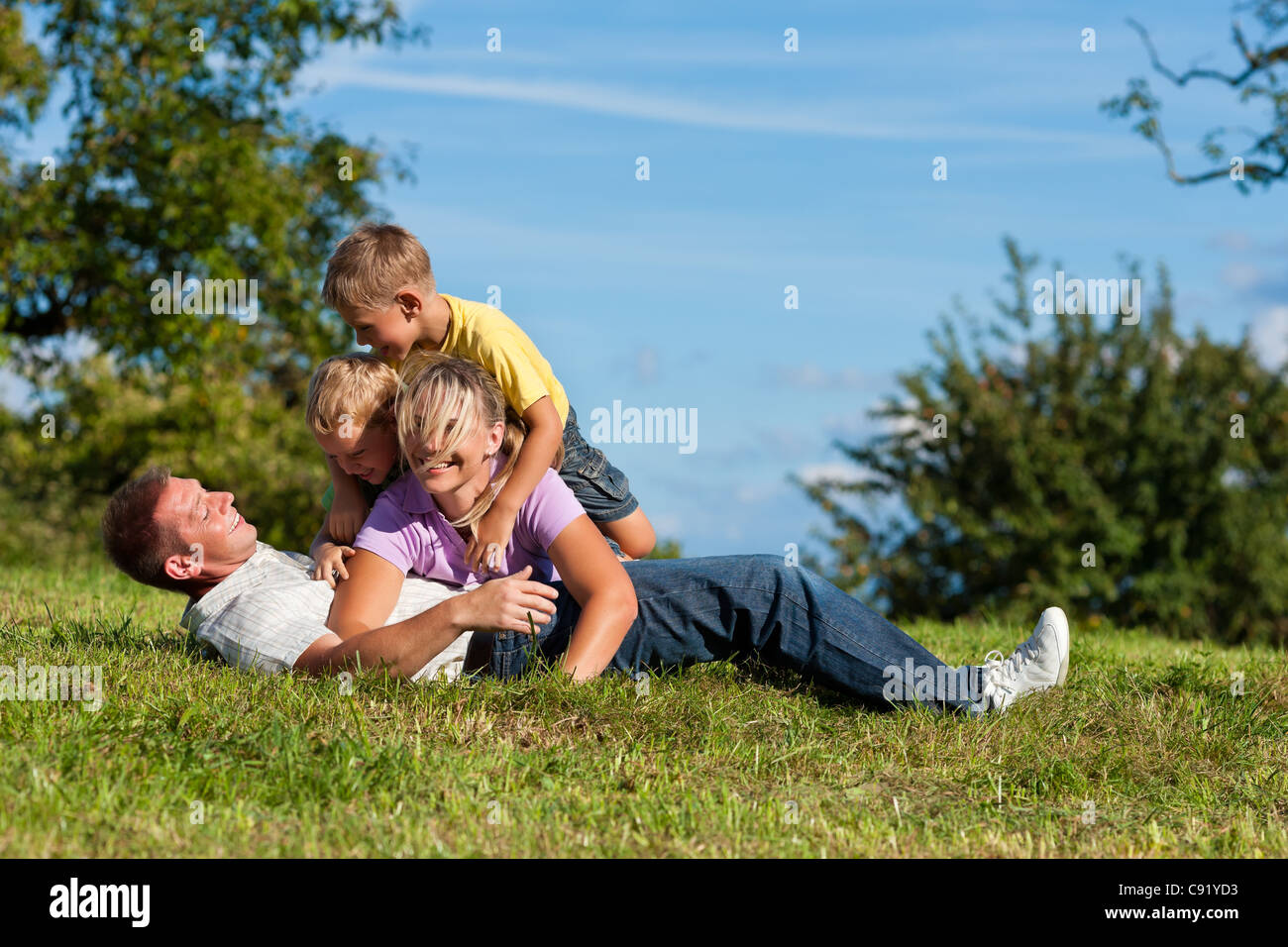 Happy family with two little boys playing in the grass on a summer meadow Stock Photo