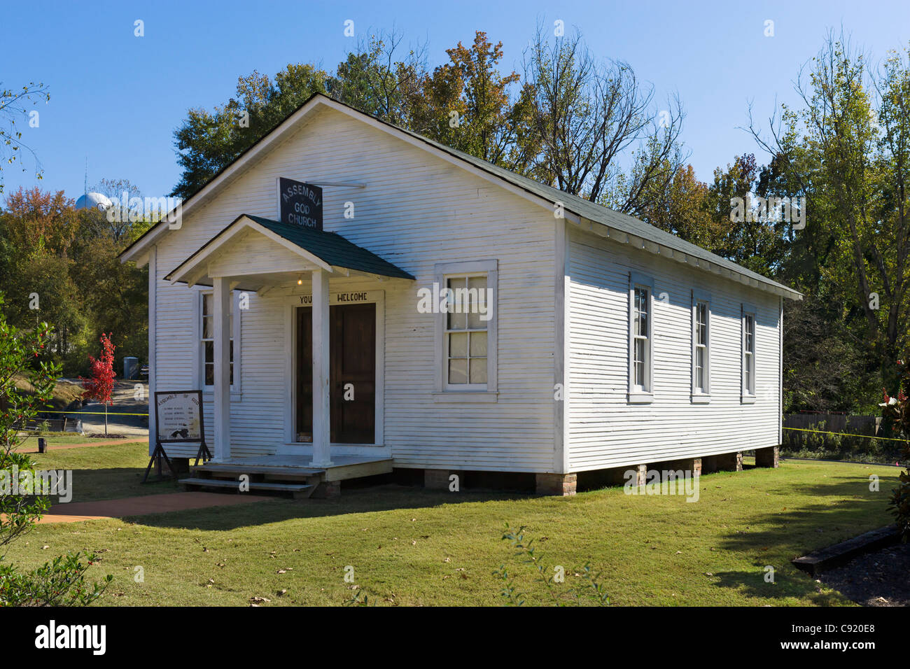 Elvis Presley's local childhood church, now at Elvis Presley's Birthplace, Tupelo, Mississippi, USA - Stock Image