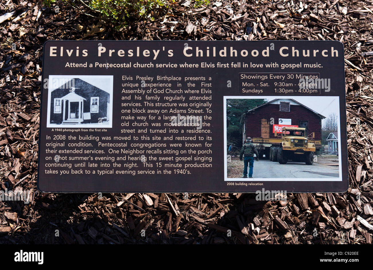 Sign outside Elvis Presley's local childhood church, now at Elvis Presley's Birthplace, Tupelo, Mississippi, - Stock Image