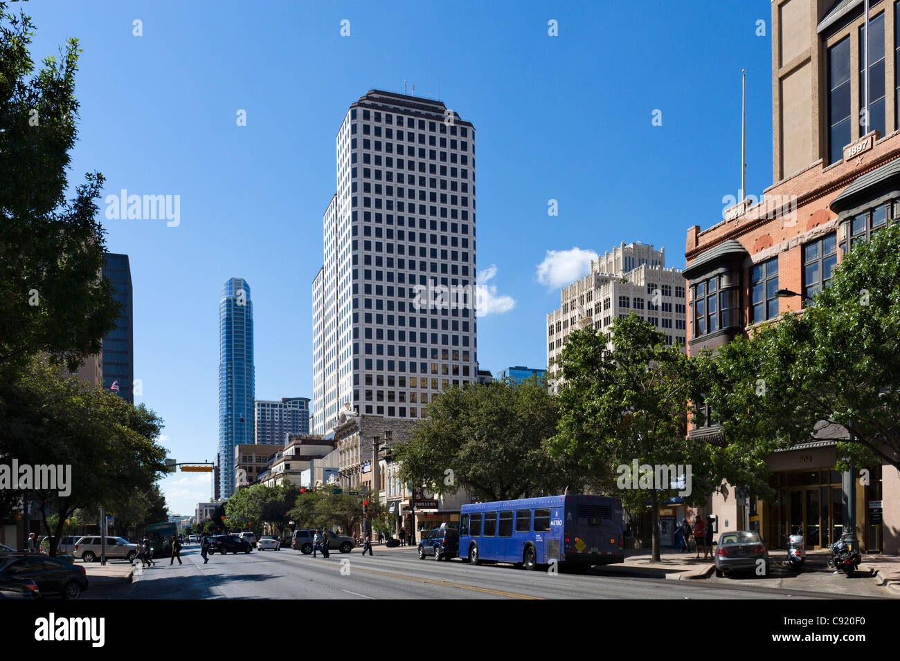 Congress Avenue in historic downtown Austin, Texas, USA - Stock Image