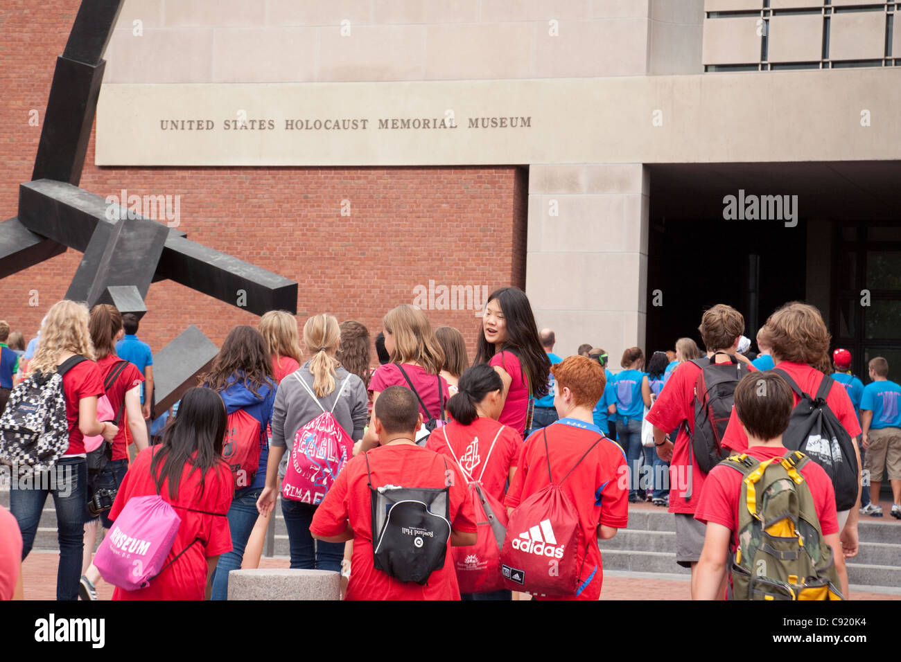 School children on a trip to the National Holocaust Museum, Washington DC USA - Stock Image