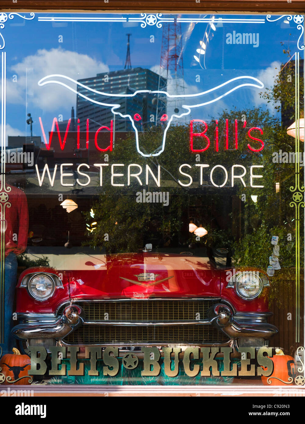 Window of 'Wild Bill's Western Store' on N Market Street in the West End Historic District, Dallas, Texas, USA Stock Photo