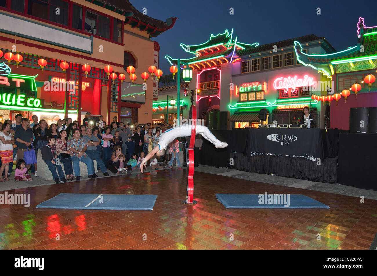 Large crowds in the evening at Los Angeles Chinatown during Summer Nights event. - Stock Image