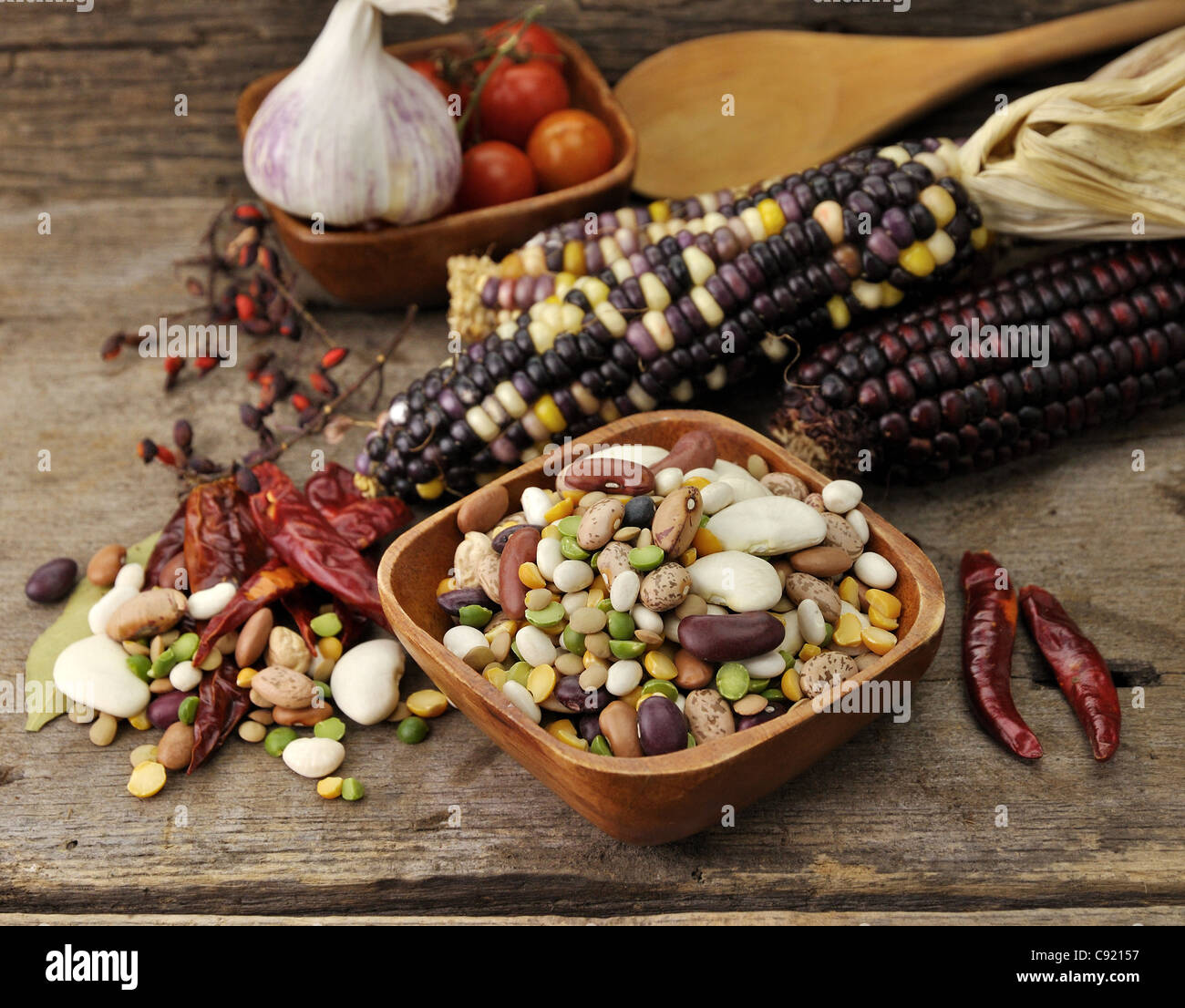 Colorful Mix Of Beans, Lentil, Green And Yellow Peas - Stock Image