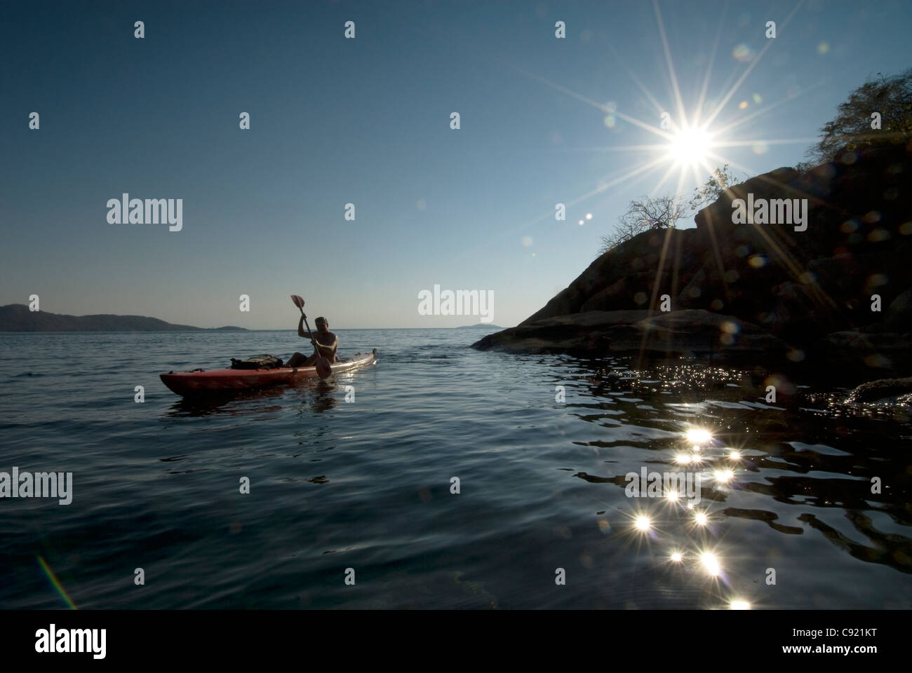 Cape Maclear shoreline is a beautiful landscape at the southern end of Lake Malawi in Southern Malawi which is best - Stock Image