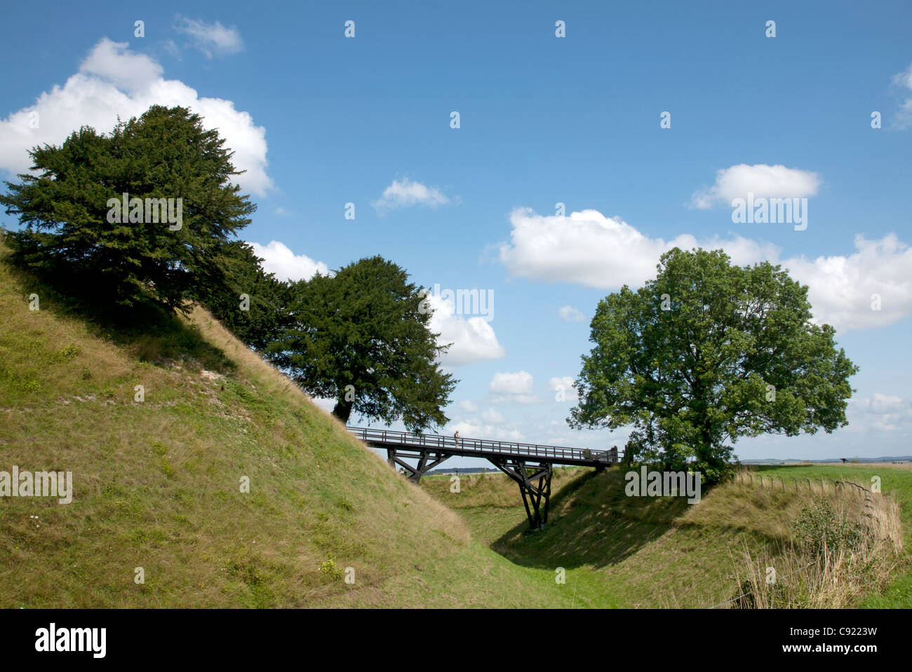 Old Sarum is an ancient Iron Age hillfort believed to date from 3,000 years BC and a significant place of occupation Stock Photo